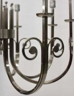 Tommi Parzinger Highly Important Rare Tommi Parzinger Hand Made Nickel Finish Chandelier - 1367693