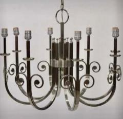 Tommi Parzinger Highly Important Rare Tommi Parzinger Hand Made Nickel Finish Chandelier - 1367694