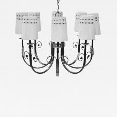 Tommi Parzinger Highly Important Rare Tommi Parzinger Hand Made Nickel Finish Chandelier - 1370147