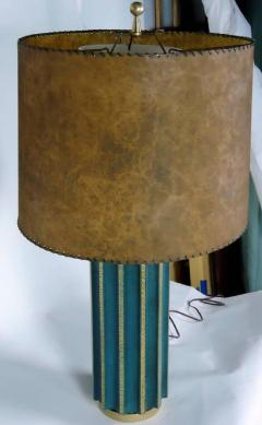 Tommi Parzinger Leather Fluted Table Lamp in the Style of Tommi Parzinger - 574413