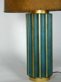 Tommi Parzinger Leather Fluted Table Lamp in the Style of Tommi Parzinger - 574415