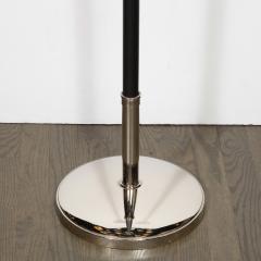 Tommi Parzinger Midcentury Polished Nickel Black Enamel Floor Lamp Manner of Tommi Parzinger - 1733302