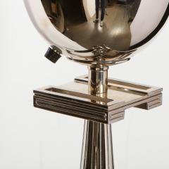 Tommi Parzinger Midcentury Polished Nickel Black Enamel Floor Lamp Manner of Tommi Parzinger - 1733304