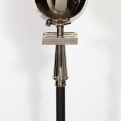 Tommi Parzinger Midcentury Polished Nickel Black Enamel Floor Lamp Manner of Tommi Parzinger - 1733307