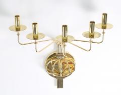 Tommi Parzinger Pair of 1950s Tommi Parzinger Brass Wall Candelabras - 674744