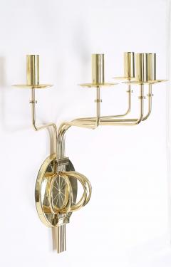 Tommi Parzinger Pair of 1950s Tommi Parzinger Brass Wall Candelabras - 674749