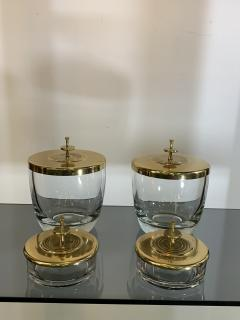 Tommi Parzinger SUITE OF FOUR STUNNING TOMMI PARZINGER BRASS AND GLASS CANNISTERS - 1014223