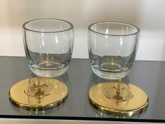 Tommi Parzinger SUITE OF FOUR STUNNING TOMMI PARZINGER BRASS AND GLASS CANNISTERS - 1014233