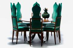 Tommi Parzinger Set of 8 Tommi Parzinger Style Dining Chairs in Green Velvet with Walnut Frames - 2101327