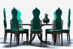 Tommi Parzinger Set of 8 Tommi Parzinger Style Dining Chairs in Green Velvet with Walnut Frames - 2101333
