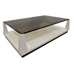 Tommi Parzinger Tommi Parzinger Lacquered Coffee Table with Smoke Glass Top 1970s - 1894688