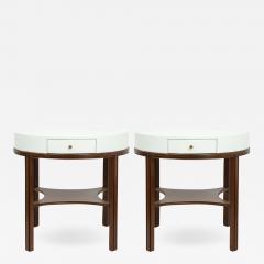 Tommi Parzinger Tommi Parzinger Lacquered Linen Walnut Side Tables - 1757218