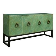 Tommi Parzinger Tommi Parzinger Rare 4 Door Hand Tooled Leather Credenza 1940s - 2015529