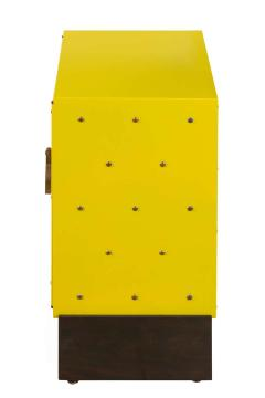Tommi Parzinger Tommi Parzinger Yellow Lacquered Studded Two Door Cabinet - 1256680