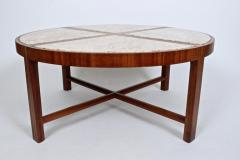 Tommi Parzinger Tommi Parzinger for Charak Modern Mahogany and Marble Coffee Table - 1813985