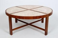 Tommi Parzinger Tommi Parzinger for Charak Modern Mahogany and Marble Coffee Table - 1813986