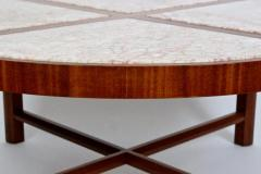 Tommi Parzinger Tommi Parzinger for Charak Modern Mahogany and Marble Coffee Table - 1814017