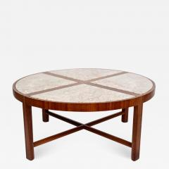 Tommi Parzinger Tommi Parzinger for Charak Modern Mahogany and Marble Coffee Table - 1815909