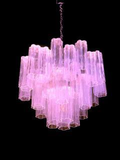 Toni Zuccheri Pair of Pink Tronchi Murano Glass Chandelier by Toni Zuccheri for Venini 1970s - 1445838