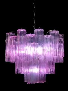 Toni Zuccheri Pair of Pink Tronchi Murano Glass Chandelier by Toni Zuccheri for Venini 1970s - 1445839