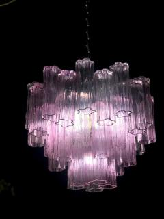 Toni Zuccheri Pair of Pink Tronchi Murano Glass Chandelier by Toni Zuccheri for Venini 1970s - 1445841