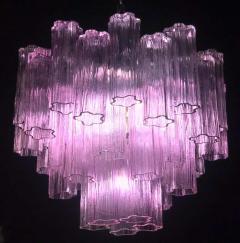 Toni Zuccheri Pair of Pink Tronchi Murano Glass Chandelier by Toni Zuccheri for Venini 1970s - 1445845