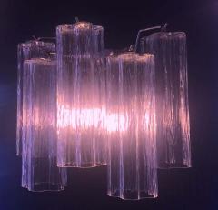 Toni Zuccheri Pair of Pink Tronchi Murano Glass Chandelier by Toni Zuccheri for Venini 1970s - 1445858
