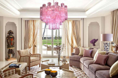 Toni Zuccheri Three Pink Tronchi Murano Glass Chandelier by Toni Zuccheri for Venini 1970s - 1679280