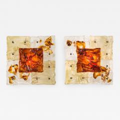 Toni Zuccheri Toni Zuccheri for Venini A Pair of Patchwork Sconces Ceiling Lights - 882585