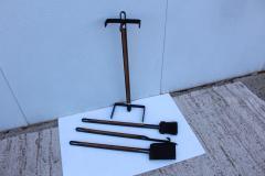 Tony Paul 1960s Tony Paul Attributed Oak And Iron Fireplace Tools - 1754820