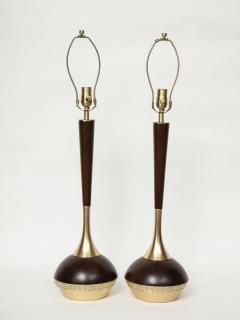 Tony Paul Tony Paul Mid Century Walnut Brass Lamps - 780978