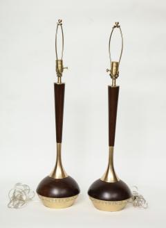 Tony Paul Tony Paul Mid Century Walnut Brass Lamps - 780979