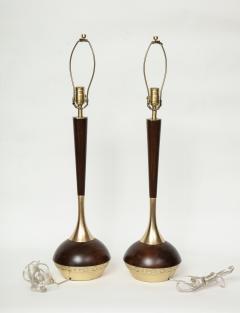 Tony Paul Tony Paul Mid Century Walnut Brass Lamps - 780980
