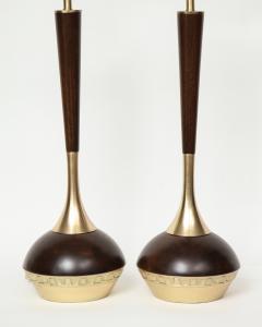 Tony Paul Tony Paul Mid Century Walnut Brass Lamps - 780981