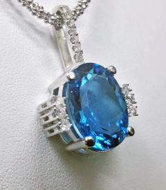 Topaz and Diamond Necklace Pendant with 14K chain - 1288385