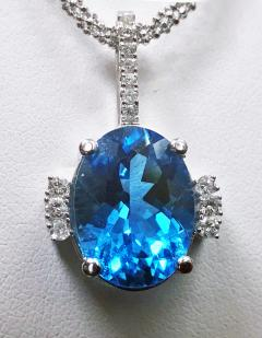 Topaz and Diamond Necklace Pendant with 14K chain - 1288387
