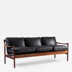 Torbjorn Afdal Midcentury Scandinavian Sofa in Leather and Rosewood by Torbj rn Afdal - 1692790