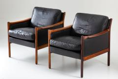 Torbjorn Afdal Scandinavian Midcentury Leather and Rosewood Lounge Chairs by Torbj rn Afdal - 1690128
