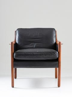 Torbjorn Afdal Scandinavian Midcentury Leather and Rosewood Lounge Chairs by Torbj rn Afdal - 1690129