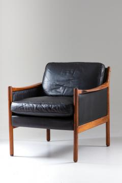 Torbjorn Afdal Scandinavian Midcentury Leather and Rosewood Lounge Chairs by Torbj rn Afdal - 1690131