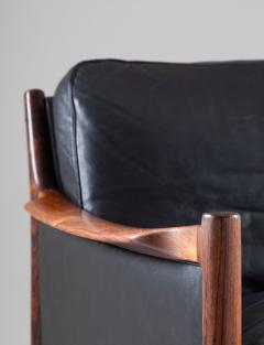 Torbjorn Afdal Scandinavian Midcentury Leather and Rosewood Lounge Chairs by Torbj rn Afdal - 1690135