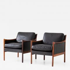 Torbjorn Afdal Scandinavian Midcentury Leather and Rosewood Lounge Chairs by Torbj rn Afdal - 1692792