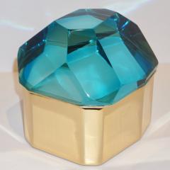 Toso Vetri D arte Diamond Shaped Turquoise Murano Glass Brass Jewel Like Box - 1088231