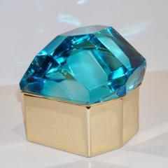 Toso Vetri D arte Diamond Shaped Turquoise Murano Glass Brass Jewel Like Box - 1088232