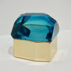 Toso Vetri D arte Diamond Shaped Turquoise Murano Glass Brass Jewel Like Box - 1088235