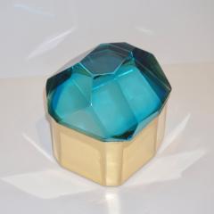 Toso Vetri D arte Diamond Shaped Turquoise Murano Glass Brass Jewel Like Box - 1088236