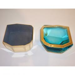 Toso Vetri D arte Diamond Shaped Turquoise Murano Glass Brass Jewel Like Box - 1088238