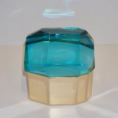 Toso Vetri D arte Diamond Shaped Turquoise Murano Glass Brass Jewel Like Box - 1088239