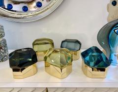 Toso Vetri D arte Diamond Shaped Turquoise Murano Glass Brass Jewel Like Box - 1088241