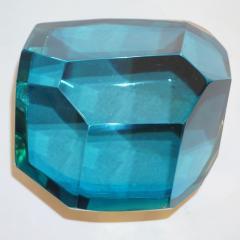 Toso Vetri D arte Diamond Shaped Turquoise Murano Glass Brass Jewel Like Box - 1088257